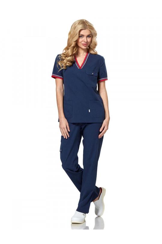 Блузка медицинская женская LE 2103 (т.синий, сатори)