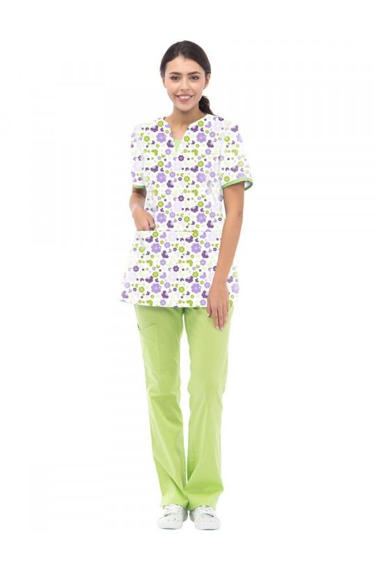 Блузка медицинская женская LF 2114 (принт бабочки, хлопок)