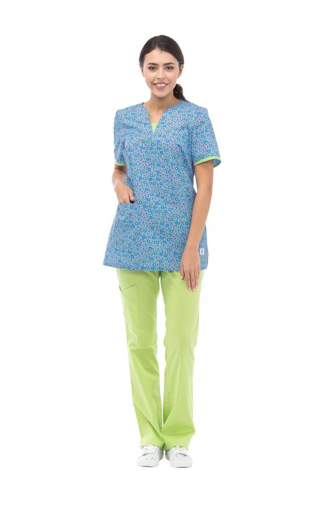 Блузка медицинская женская LF 2113 (либерти, хлопок)
