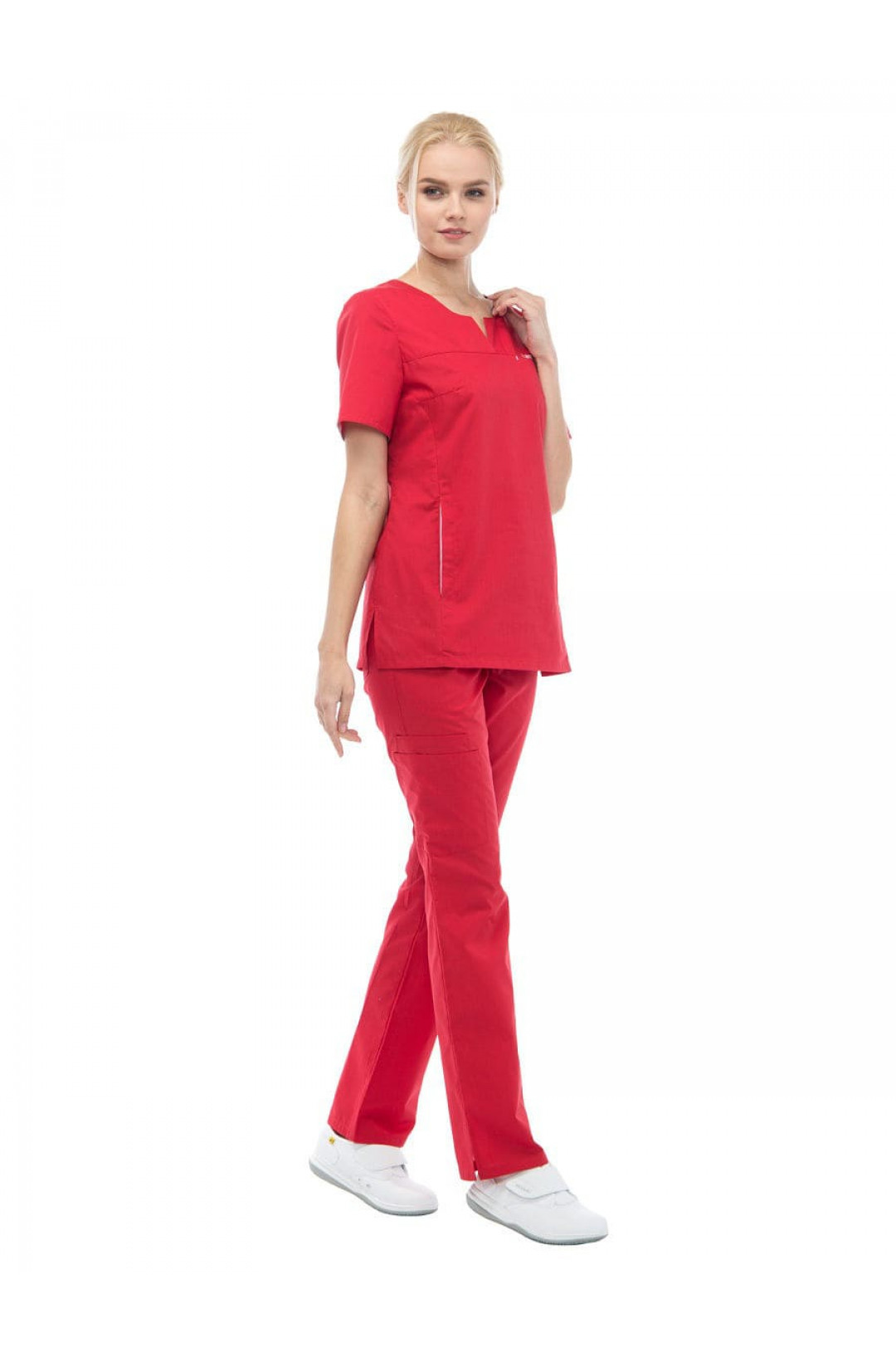 Блузка медицинская женская LF 2108 (красный, тиси)