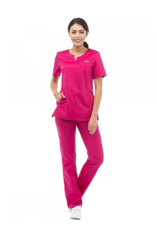Блузка медицинская женская LF 2109 (розовый, стрейч)