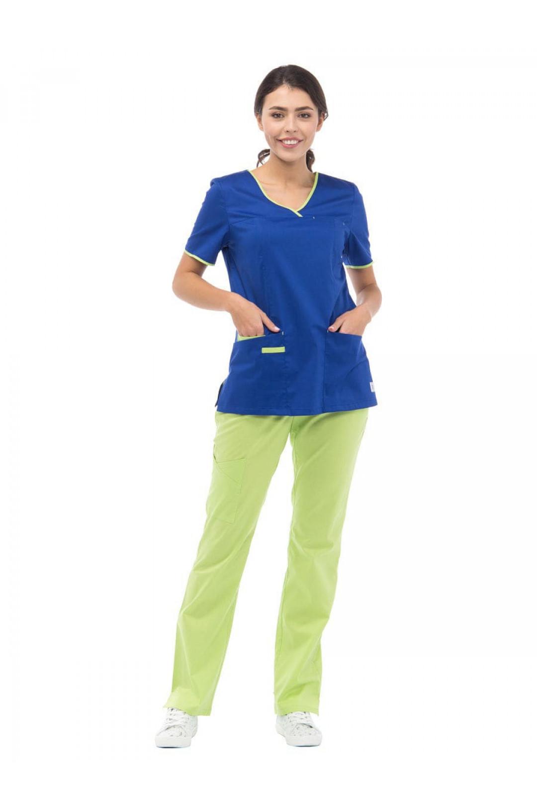 Блузка медицинская женская LF 2110 (синий, стрейч)