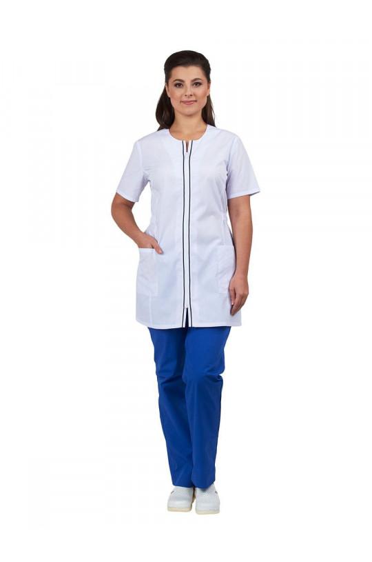 Блузка медицинская женская Лэйн (белый, тиси)