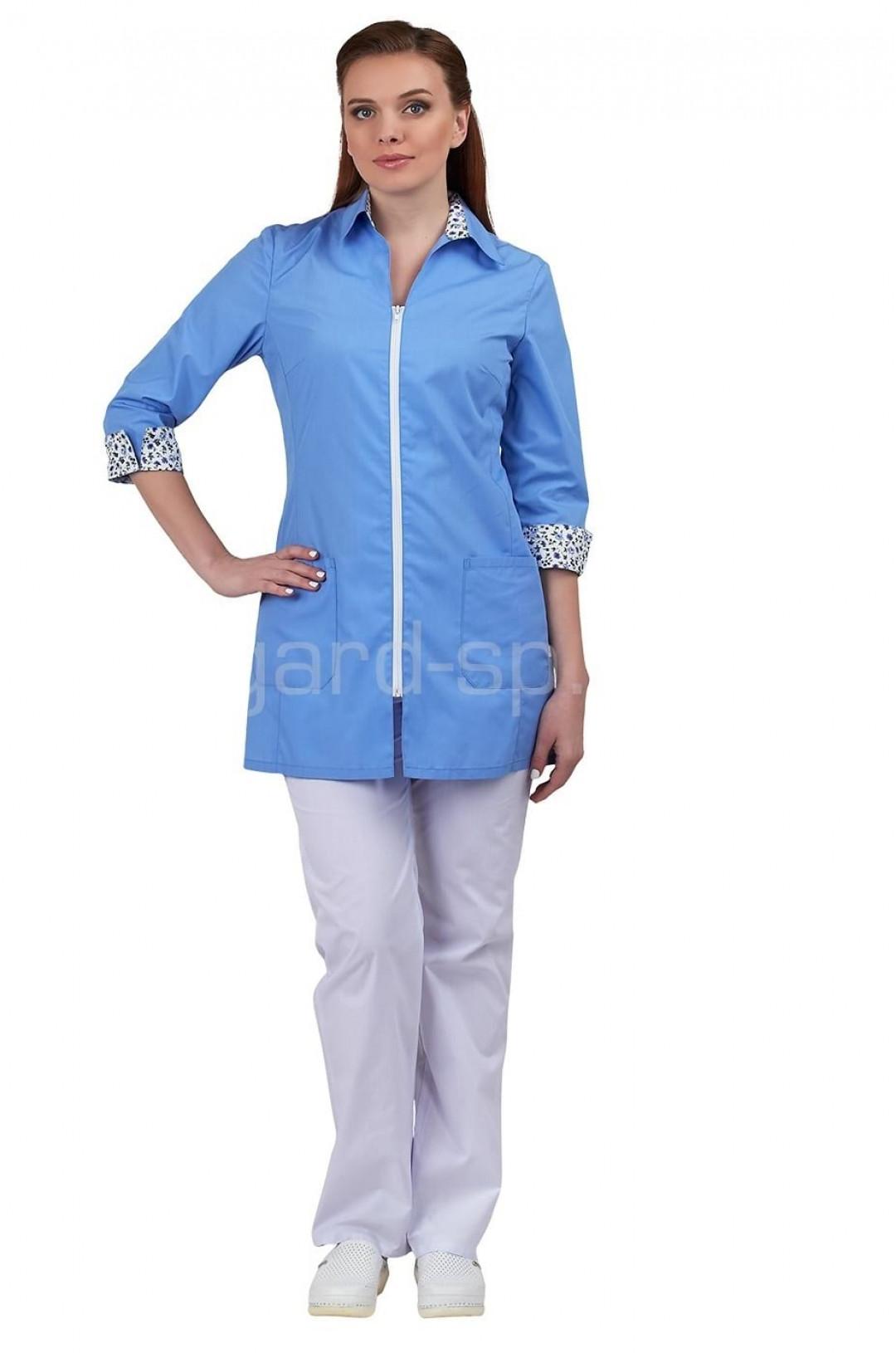 Блузка медицинская женская Далия (голубой, тиси)