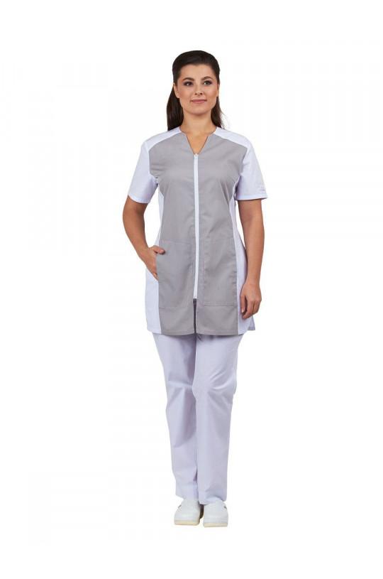 Блузка медицинская женская Тереза (белый/серый, тиси)