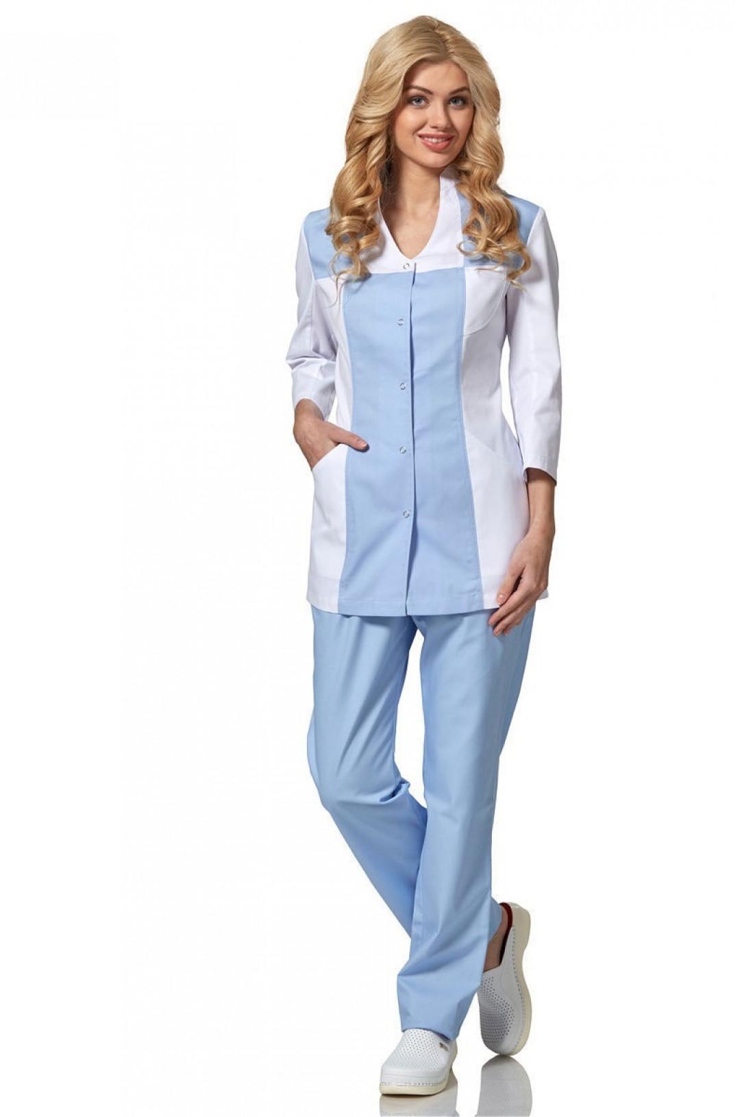 Блузка медицинская женская LL 2102 (голубой/белый, тередо)