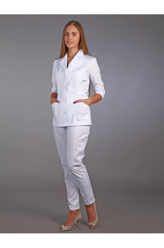Жакет медицинский женский М-215 (белый, сатори)