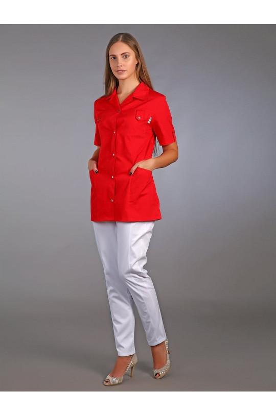 Жакет медицинский женский М-230 (красный, тиси)