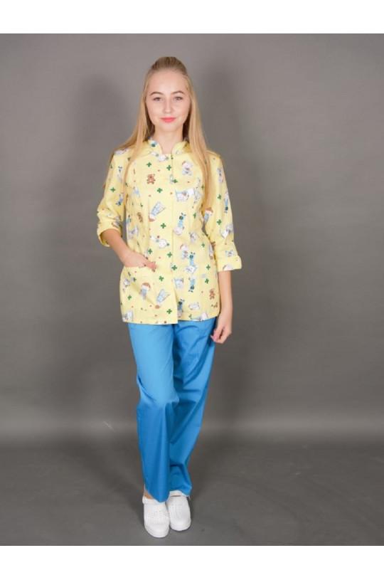 Блузка медицинская женская 315 (желтый, тередо)