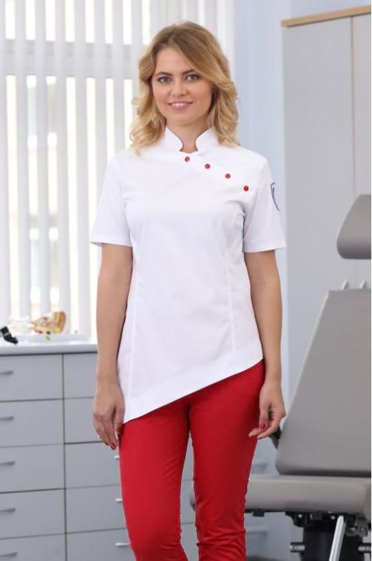 Туника медицинская женская 602 (белый, fleximed)