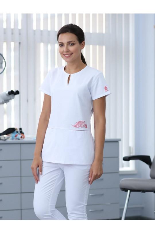 Блузка хирургическая женская D 902 DELAWARE (белый, стрейч)