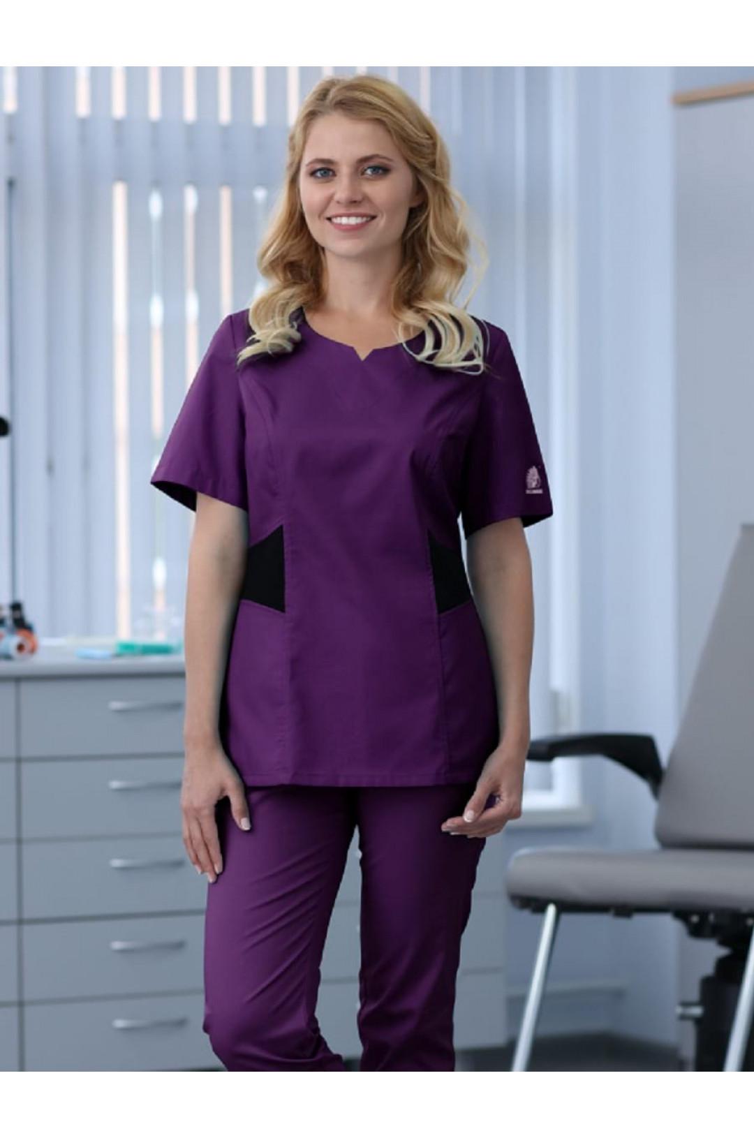Блузка хирургическая женская D 910 DELAWARE (баклажан, стрейч)