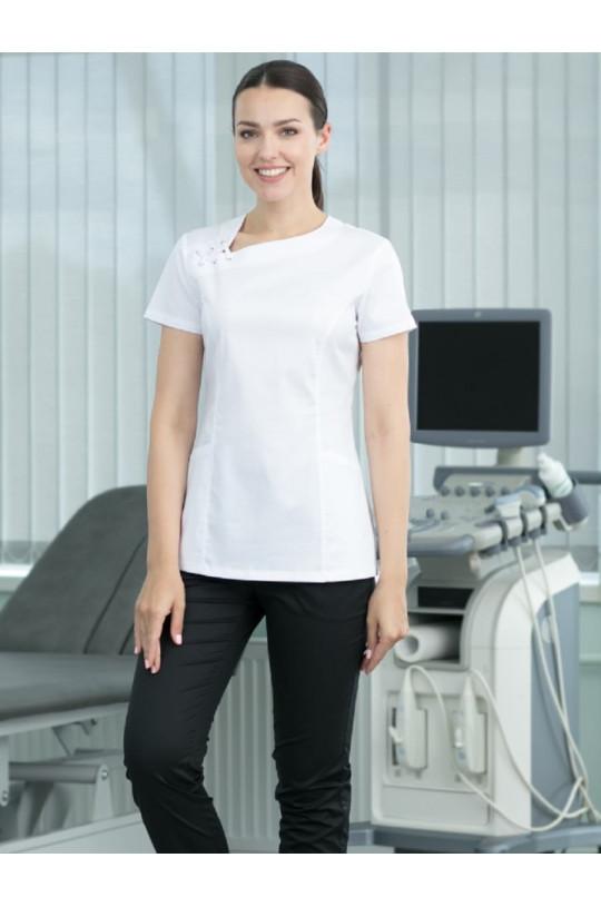 Куртка хирургическая женская D 942 DELAWARE (белый, стрейч)
