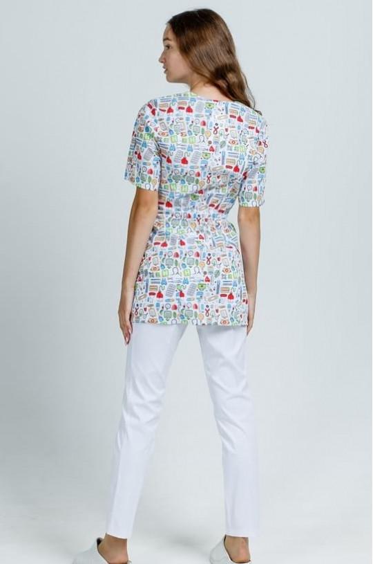 Куртка медицинская женская Дора КМ.579 (белый принт больничка, твилл)