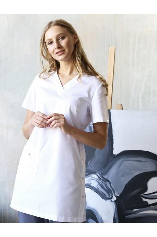 Блузка медицинская женская Лонга (белый, сатори)