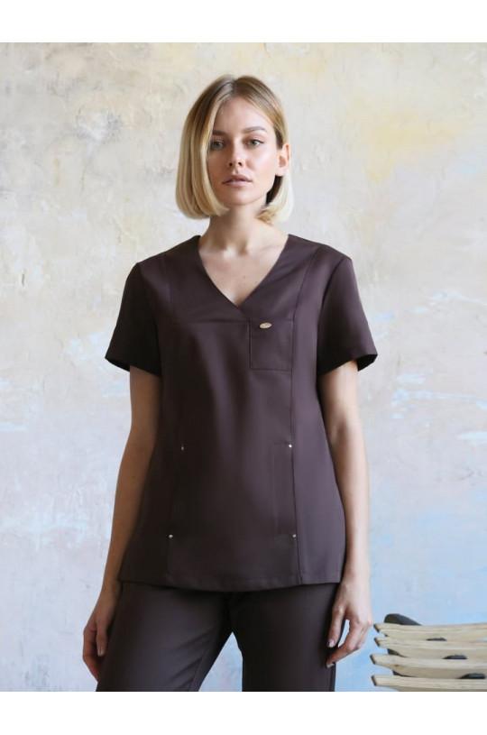 Блузка медицинская женская Шоколад (шоколад, сатори)