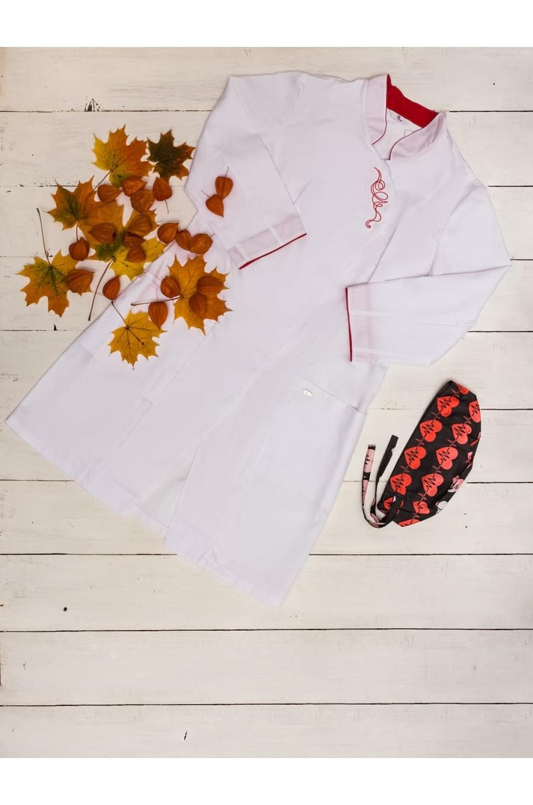 Блузка медицинская женская Восток (белый/вышивка, сатори)
