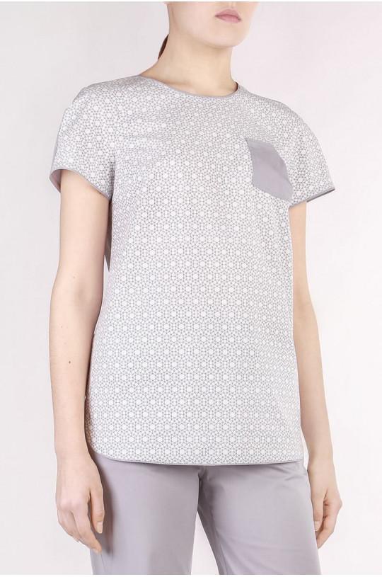 Блузка медицинская женская 8-1095 (серый, экстрастрейч)