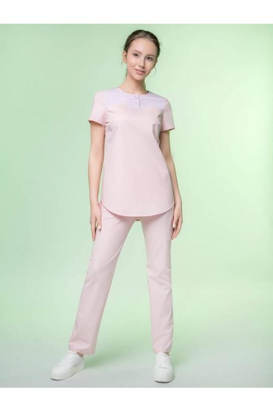 Блузка медицинская женская 8-1125 (бело-розовый, экстрастрейч)