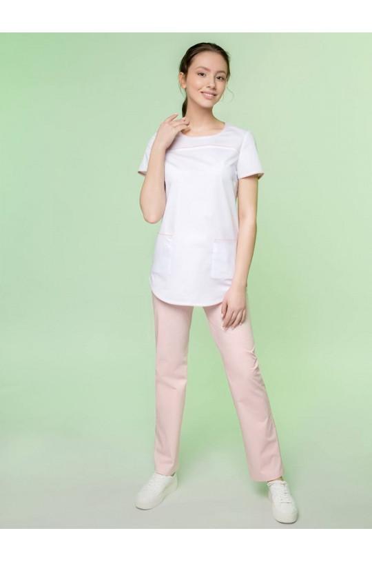 Блузка медицинская женская 8-1129 (бело-розовый, экстрастрейч)