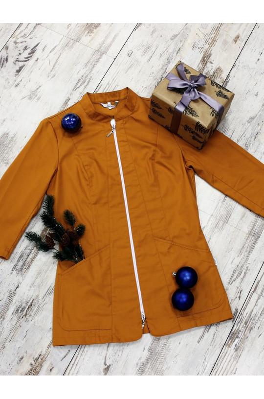 Блузка медицинская женская 8-884 (оранжевый Golden Oak, сатори)