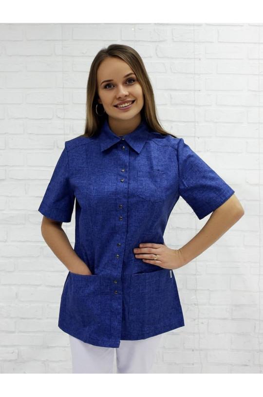 Блузка медицинская женская 8-887 (джинсовый, тередо)