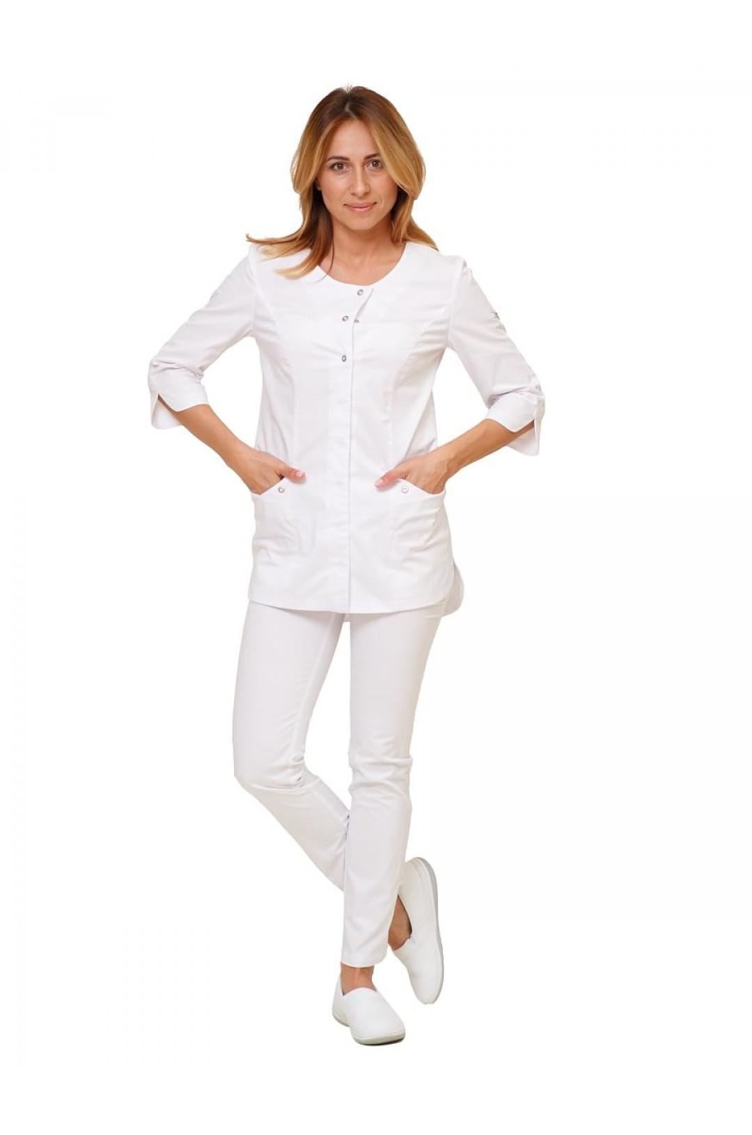 Куртка медицинская женская Н-012 (белый, стрейч)