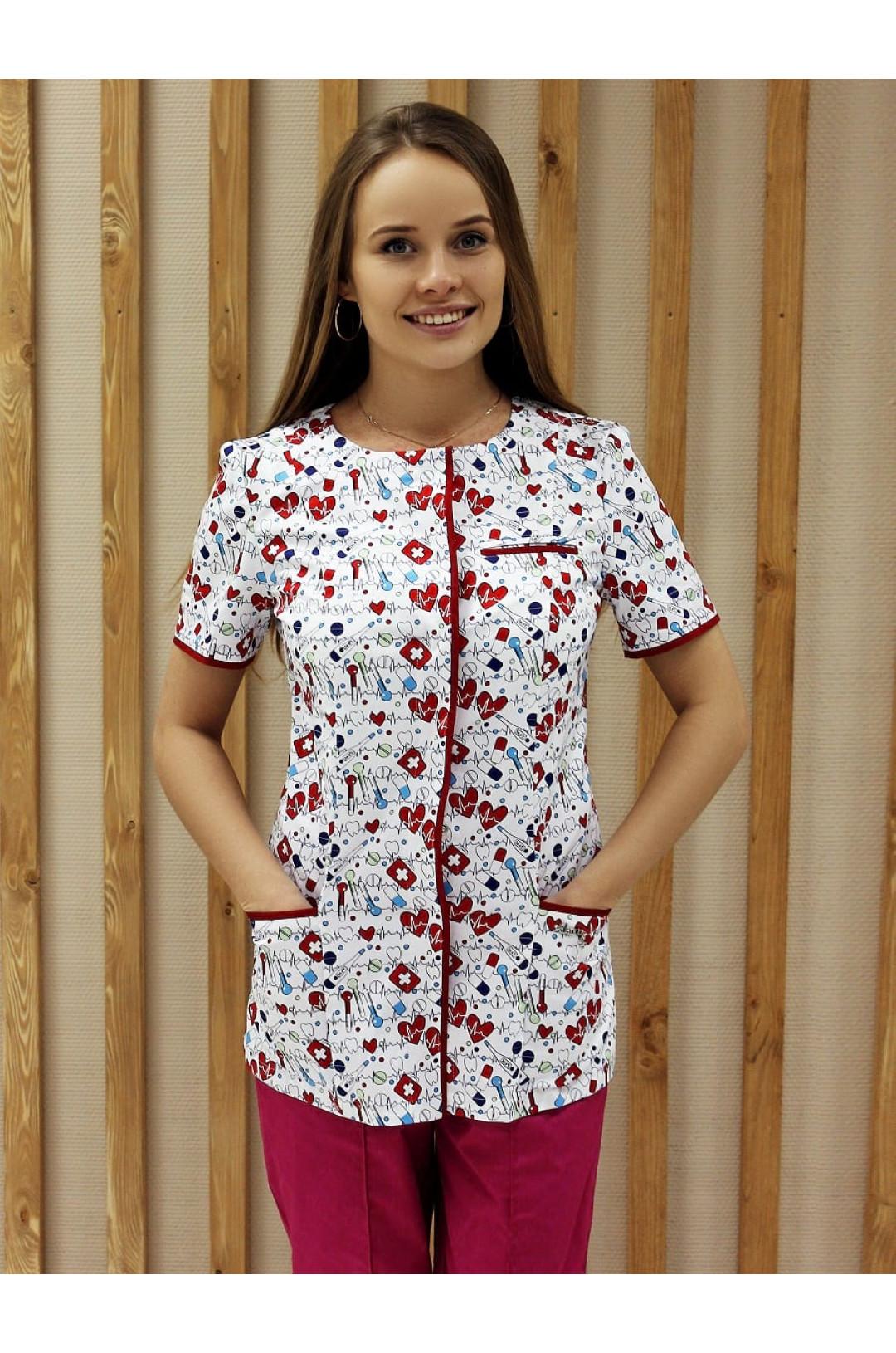 Куртка медицинская женская Т-304 (принт медицина, стрейч)