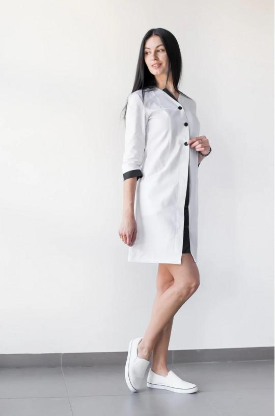 Халат медицинский женский Оливия (белый/черный, cotton)
