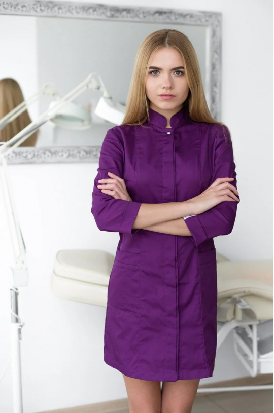 Халат медицинский женский Сакура (фиолетовый, cotton)