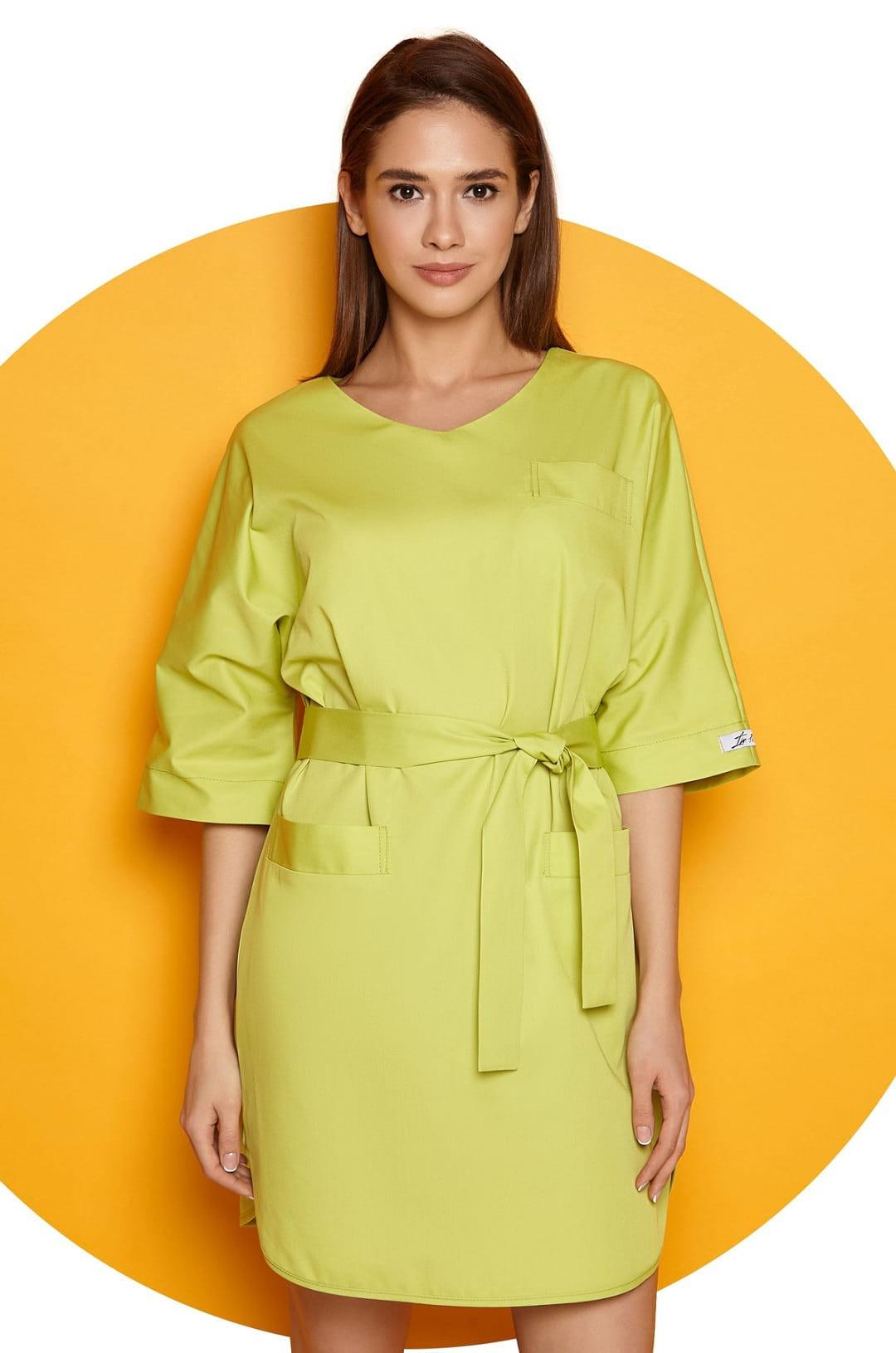 Платье медицинское женское Р-06 (лайм, смесовая)
