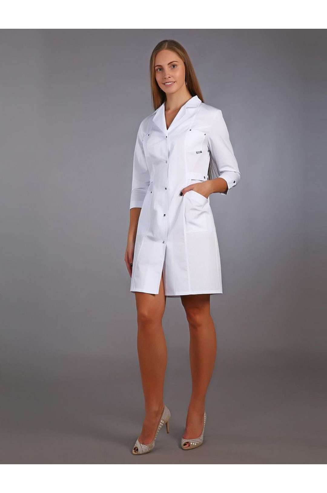 Халат медицинский женский М-012 (белый, сатори)