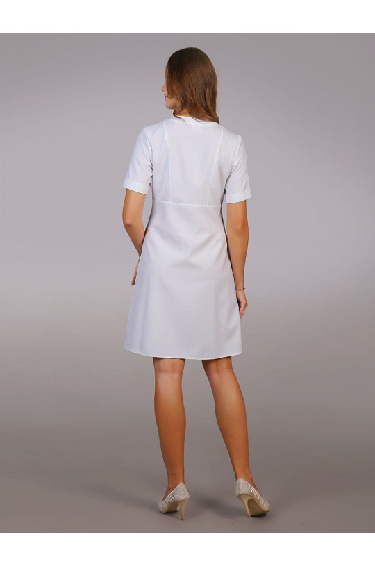 Халат медицинский женский М-016 (белый, тиси)