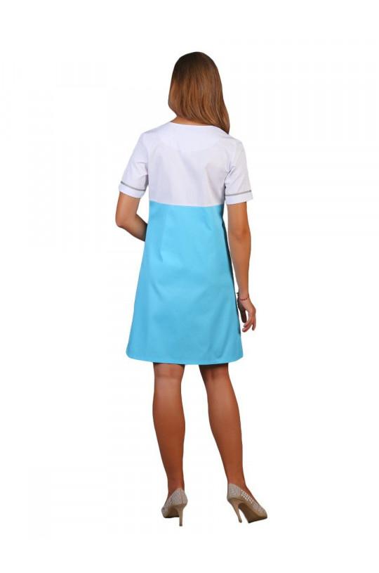 Халат медицинский женский М-030 (голубой, сатори)