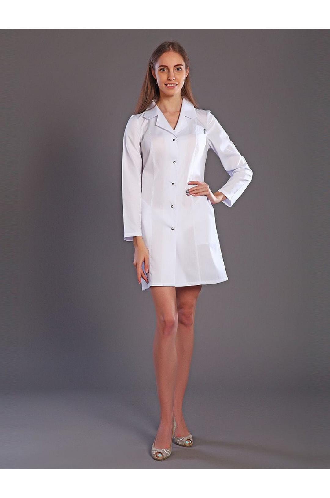Халат медицинский женский М-05 (белый, тиси)
