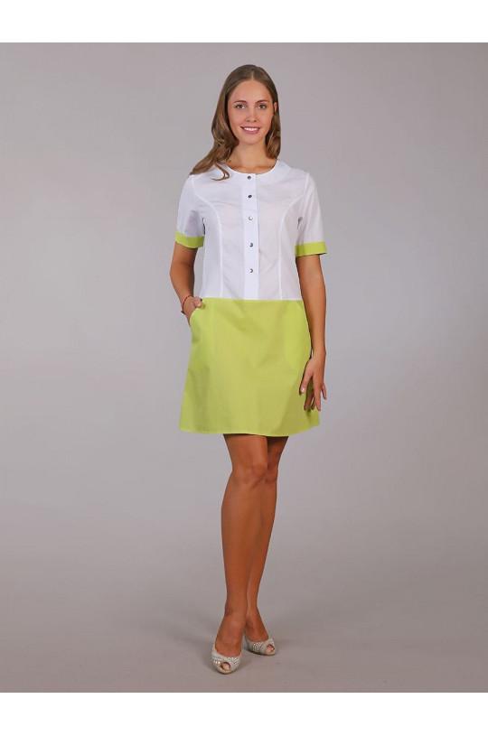 Платье медицинское женское М-500 (лайм, тиси)