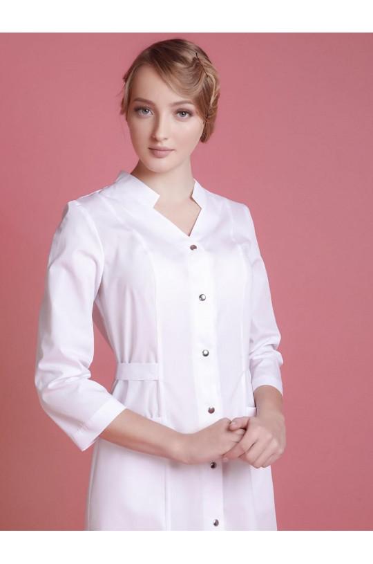 Халат медицинский женский 0001 (белый, тиси люкс)