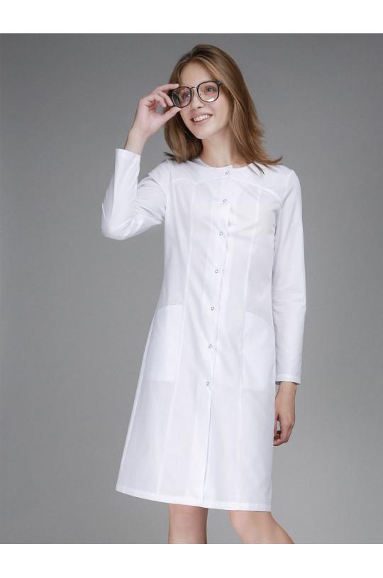 Халат медицинский женский 0004 (белый, тиси люкс)