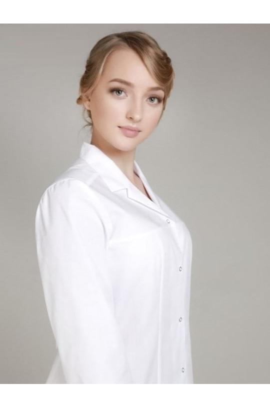 Халат медицинский женский 0005 (белый, тиси люкс)