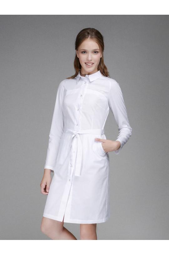 Халат медицинский женский 0008 (белый, тиси люкс)