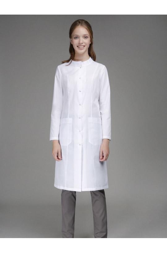 Халат медицинский женский 0010 (белый, тиси люкс)