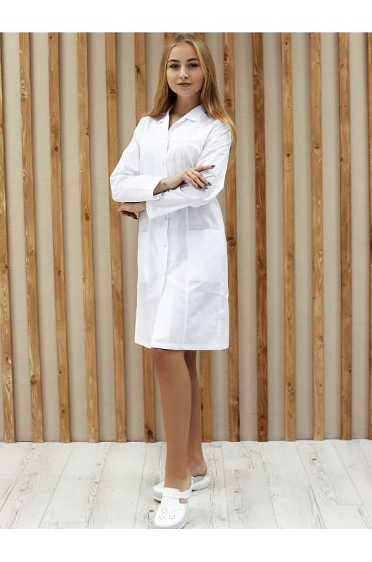 Халат медицинский женский 0013 (белый, тиси люкс)