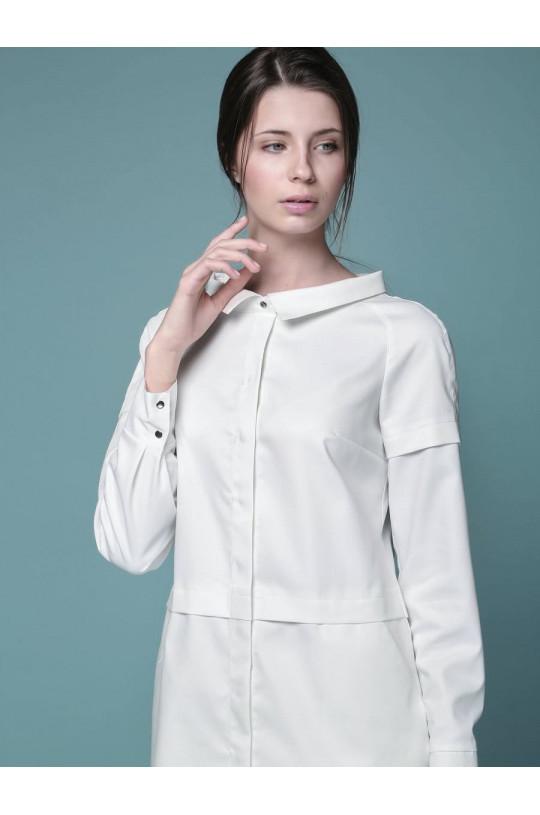 Халат медицинский женский 1-1058 (белый, экстрафлекс)