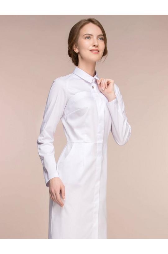 Халат медицинский женский 1-1078 (белый, сатори)