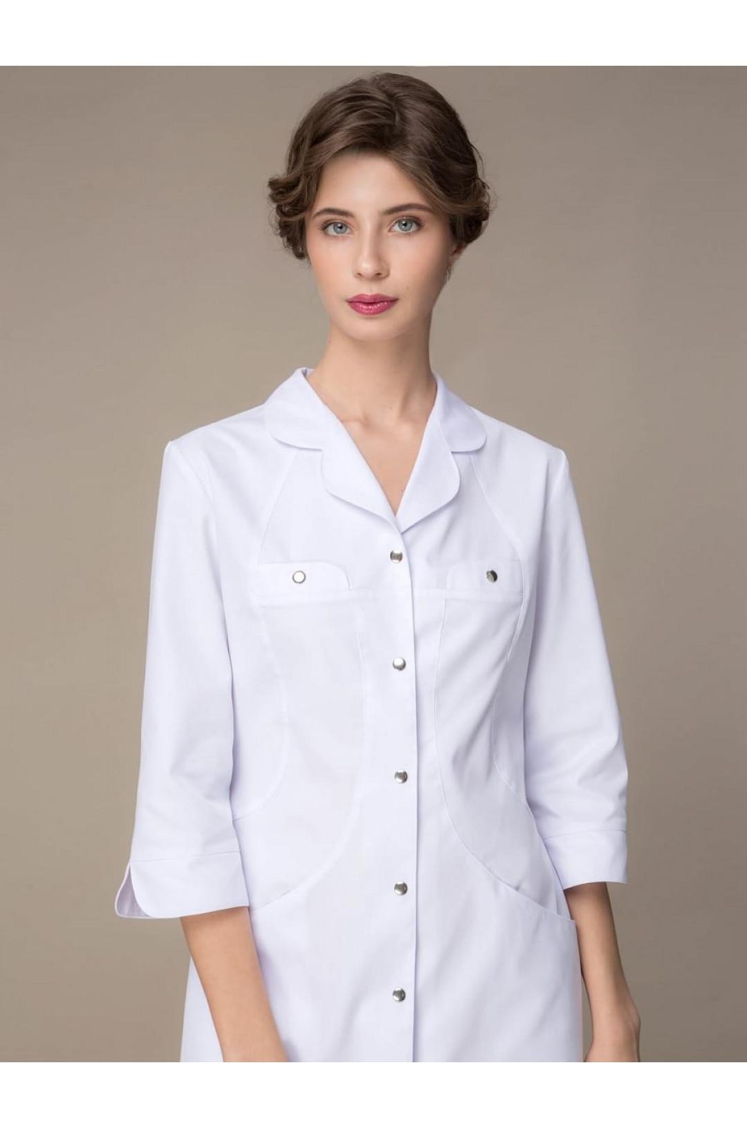 Халат медицинский женский 1-723 (белый, сатори)