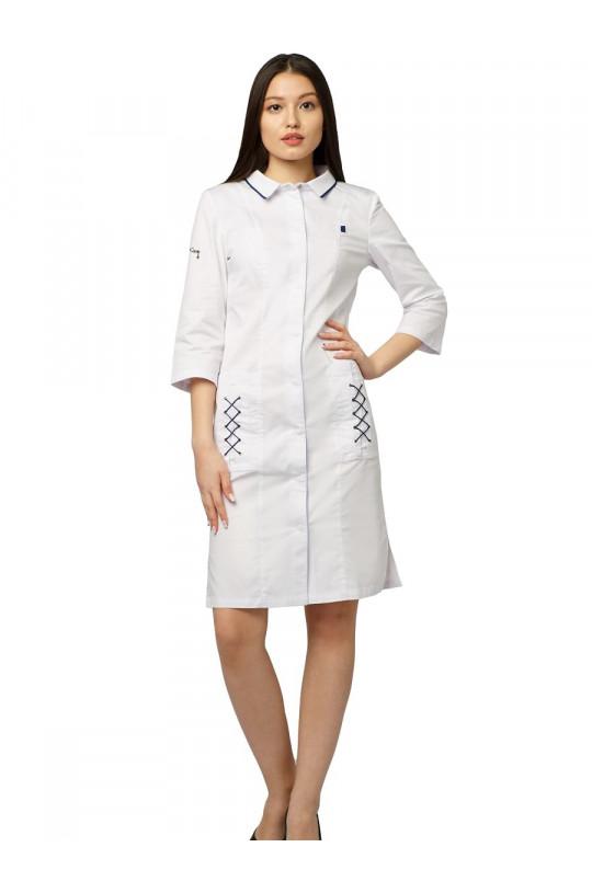 Халат медицинский женский Е 709 (белый, стрейч)