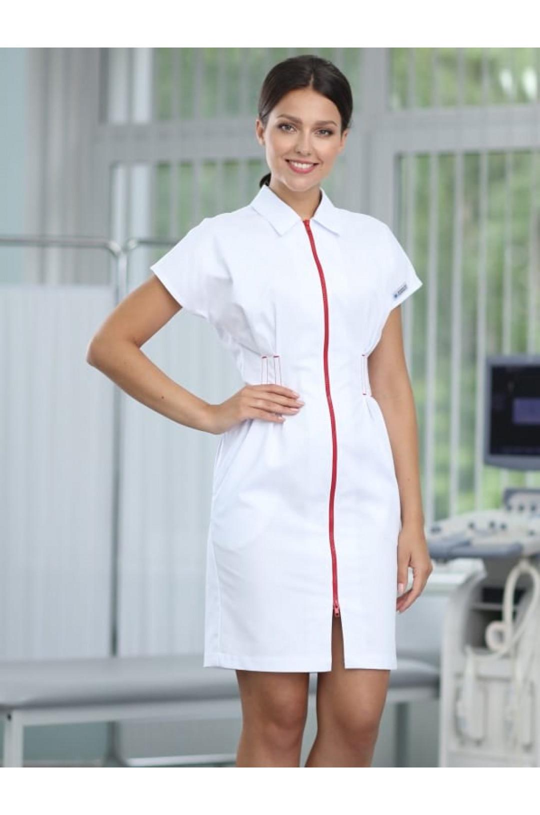 Платье медицинское женское 1006 (белый, айман195)