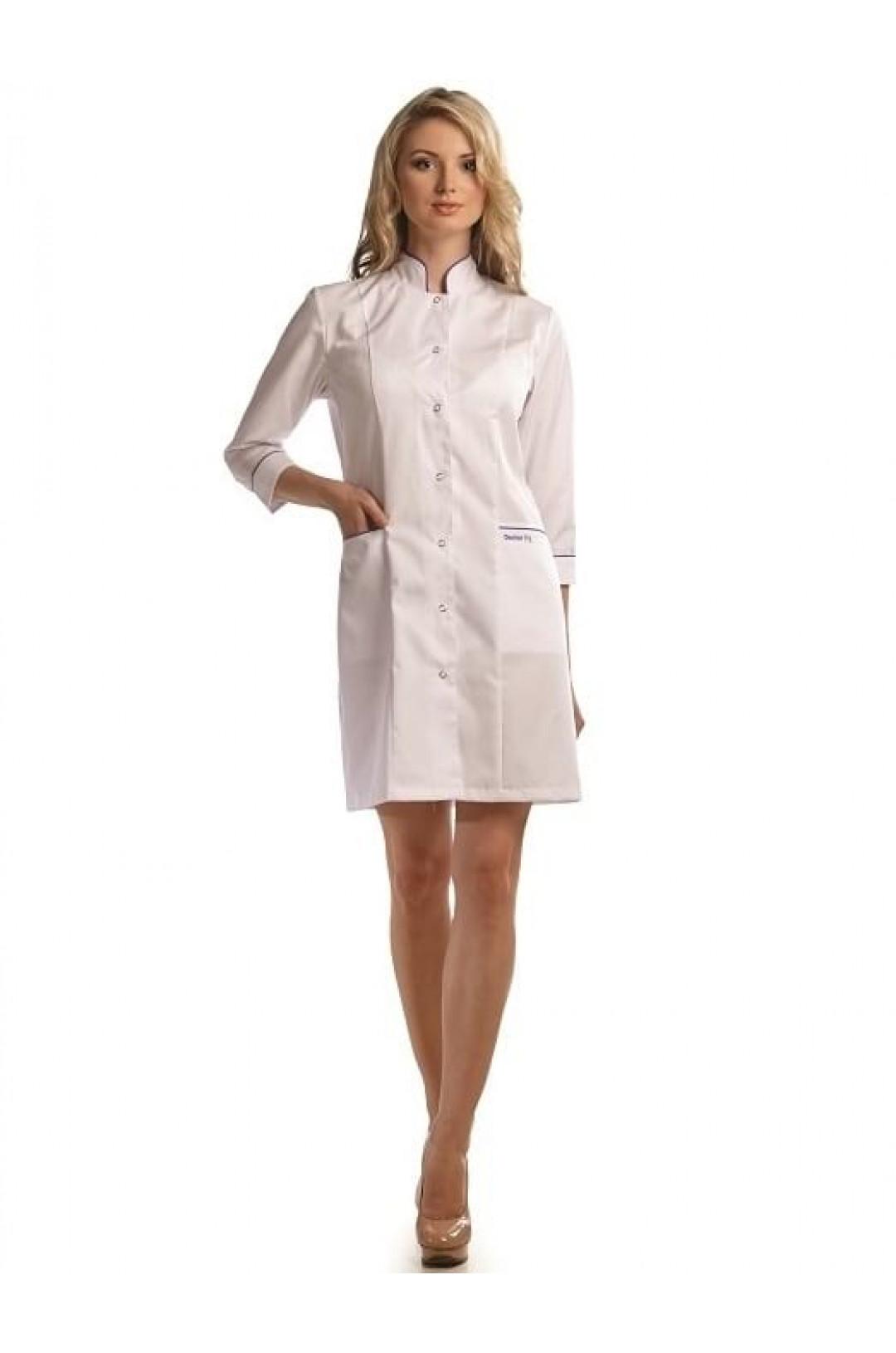 Халат медицинский женский 206 (белый, тиси)