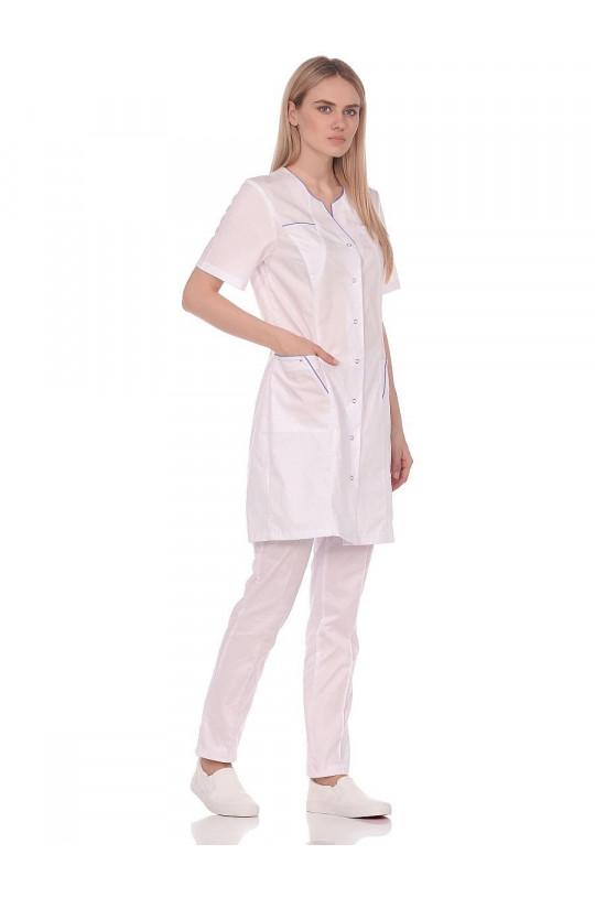 Халат медицинский женский 242 (белый, тиси)