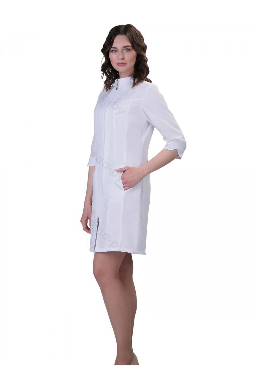 Халат медицинский женский 244 (белый, тиси)